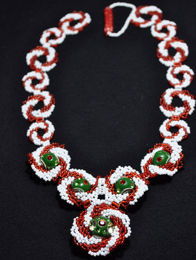 Peppermint Gems Necklace with Kashmiri Beads
