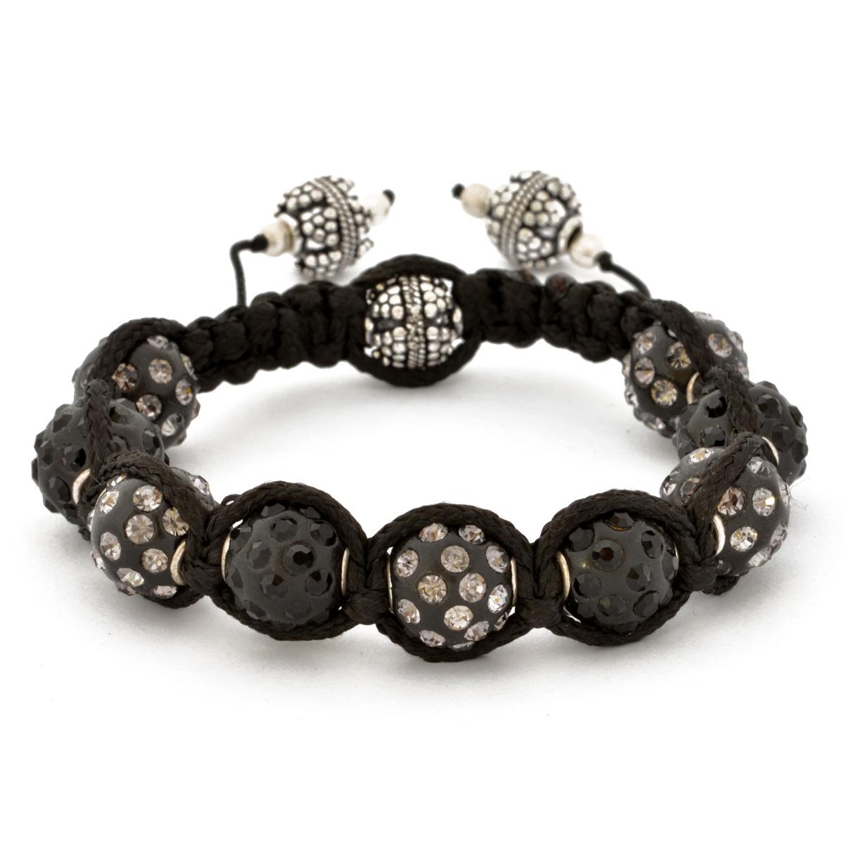 Shamballa Bracelet With Black Beads In Gray Rhinestones