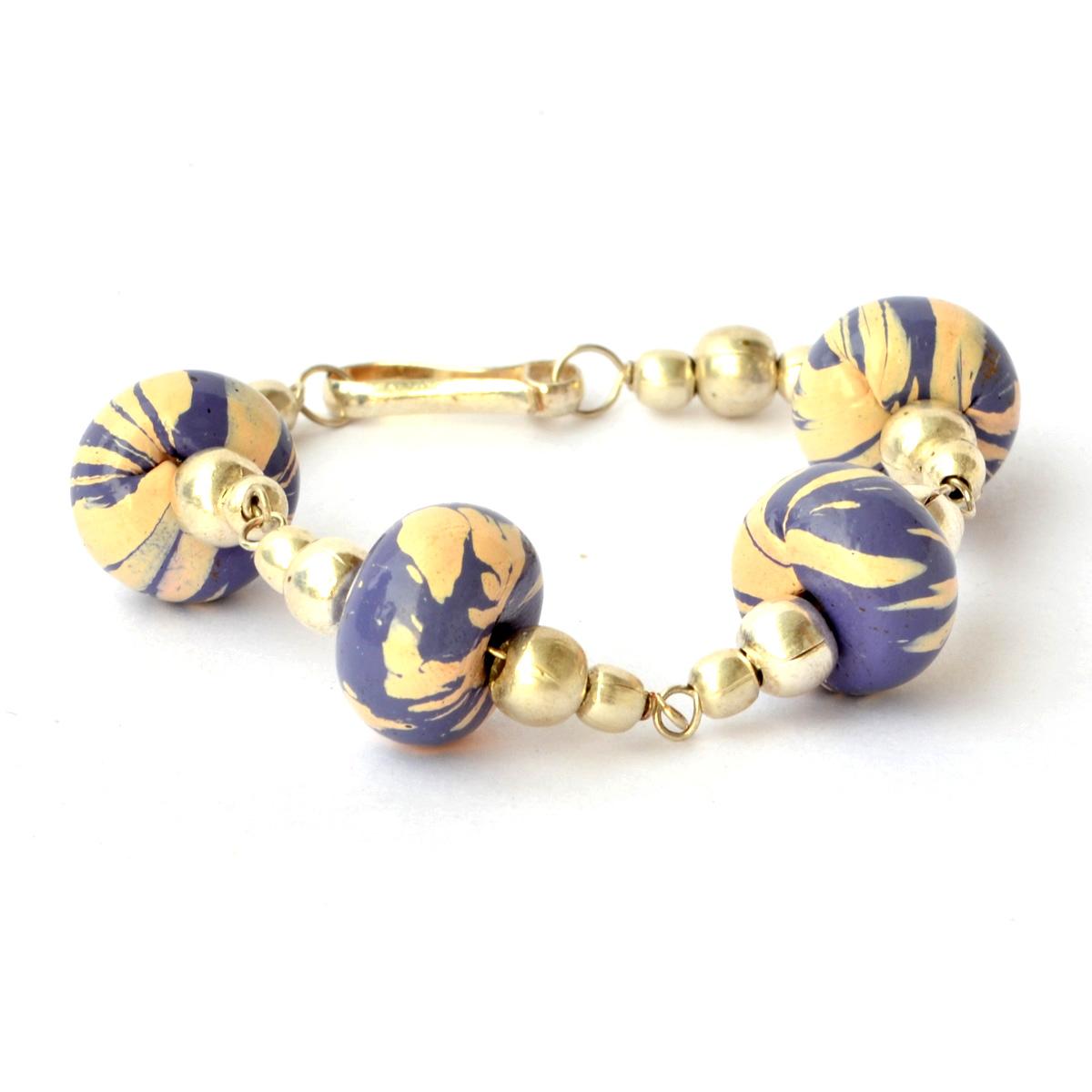 handmade bracelet purple with stripes