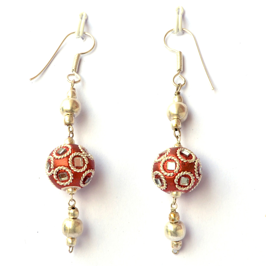 Handmade Earrings having Shining Copper Beads with Mirror Chips ...