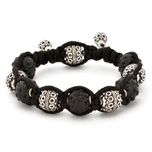 Shamballa Bracelet With Black Rhinestone Beads & Copper Beads | MSBR-156