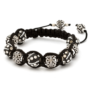 Shamballa Bracelet With Black Kashmiri Beads & Copper Beads | MSBR-160