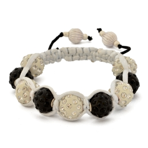 Shamballa Bracelet With White & Black Rhinestone Beads | MSBR-159