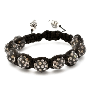 Black Shamballa Bracelet With Gray Rhinestone | MSBR-154