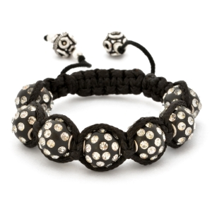 Black Shamballa Bracelet With White Rhinestone Beads | MSBR-155
