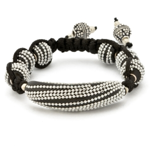 Black Shamballa Bracelet Having Beads Studded With Chains | MSBR-167