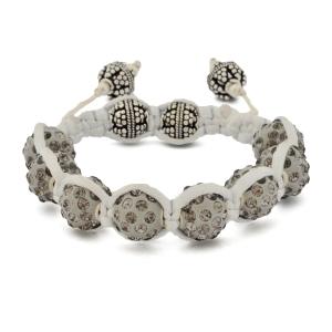 Gray Shamballa Bracelet With Gray Rhinestones | MSBR-168