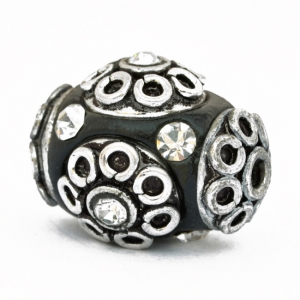 Black Beads Studded with Metal Accessories & Rhinestones