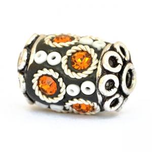 Black Beads Studded with Seed Beads, Metal Rings & Rhinestones