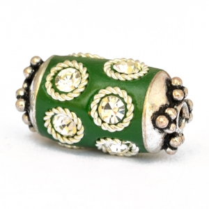 Green Cylindrical Beads Studded with Metal Rings & Rhinestones