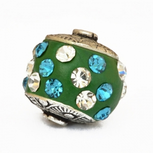 Green Beads Studded with Blue & White Rhinestones
