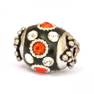 Black Beads Studded with Metal Rings, Red & White Rhinestones