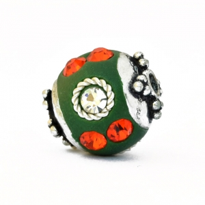 Green Beads Studded with Metal Rings, Red & White Rhinestones