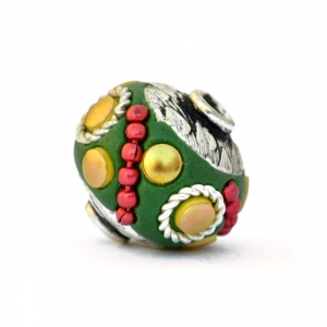 Green Beads Studded with Metal Chain, Rings & Accessories