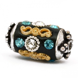 Black Beads Studded with Metal Rings, Rhinestones & Accessories