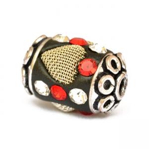 Black Beads with Metal Hearts & Rhinestones