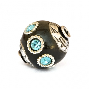 Black Beads Studded with Metal Rings & Aqua Rhinestones