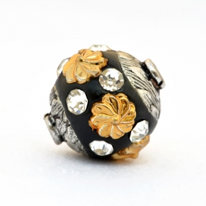 Black Beads Studded with Golden Flowers & Rhinestones
