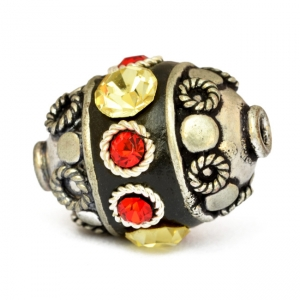 Black Beads Studded with Metal Rings & Red & Yellow Rhinestones