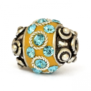 Yellow Beads Studded with Metal Rings & Aqua-Blue Rhinestones