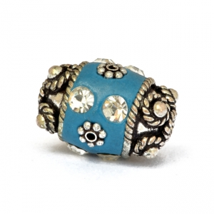 Blue Beads Studded with Metal Flowers & Rhinestones