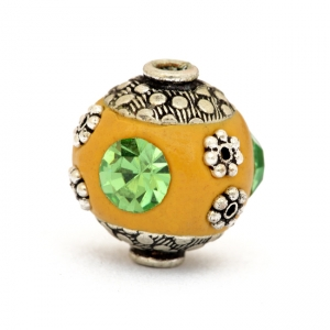 Yellow Beads Studded with Metal Flowers & Green Rhinestones