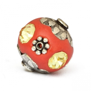 Red Beads Studded with Metal Flowers & Yellow Rhinestones