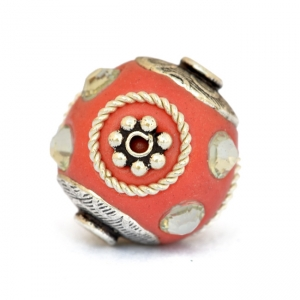 Red Beads Studded with Metal Rings + Flowers & Acrylic Rhinestones