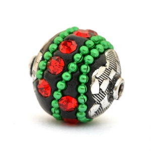 Black Beads Studded with Green Metal Chain & Red Rhinestones