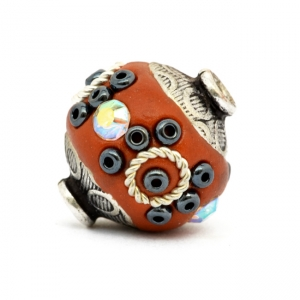 Red Beads Studded with Metal Rings + Seed Beads + Rhinestones
