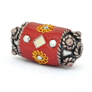 Red Beads Studded with Metal Flowers + Balls + Mirror Chips