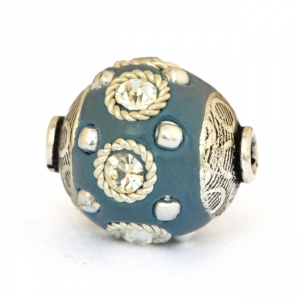Blue Beads Studded with Metal Rings + Balls & Rhinestones