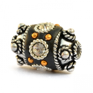 Black Beads Studded with Metal Rings + Golden Balls & Rhinestones