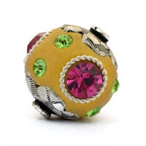 Yellow Beads Studded with Metal Rings & Pink + Green Rhinestones