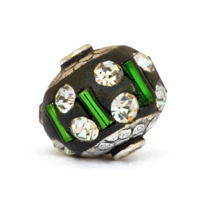 Black Beads Studded with Green Glass Tubes & White Rhinestones