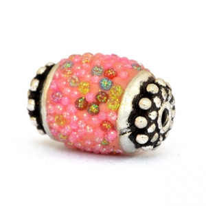 Pink Beads Studded with Colorful Grains
