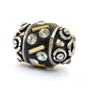 Black Beads Studded with Glass Tubes & White Rhinestones