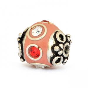 Pink Beads Studded with Metal Rings & Red + White Rhinestones