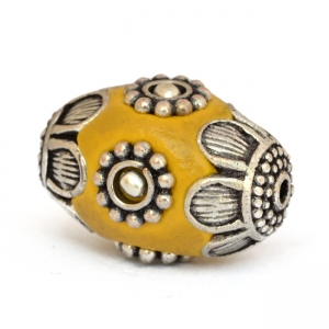 Yellow Beads Studded with Metal Flowers & Metal Balls