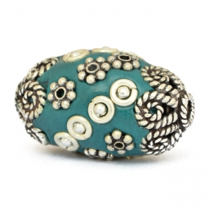 Blue Beads Studded with Metal Flowers, Metal Balls & Metal Rings