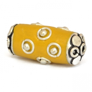 Yellow Beads Studded with Metal Rings + Balls