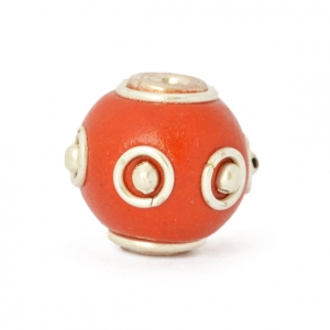 Red Round Beads Studded with Metal Rings & Metal Balls