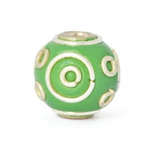 Green Round Beads Studded with Silver Plated Rings