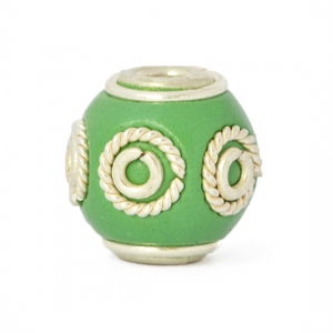 Green Round Kashmiri Beads Studded with Silver Plated Rings