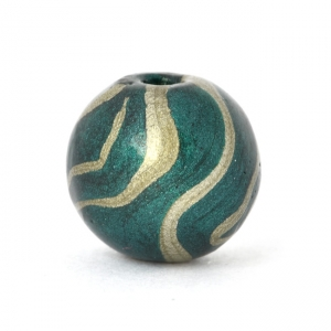 Teal Color Round Lac Beads with Silver Stripes