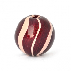 Maroon Round Lac Beads with White Stripes