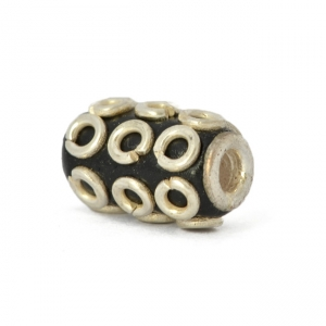 Black Cylindrical Beads Studded with Silver Plated Rings