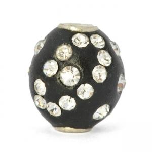 Black Round Kashmiri Beads Studded with Rhinestones