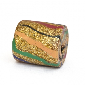 Golden Cylindrical Beads with Multicolor Stripes
