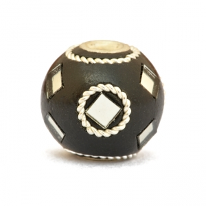 Black Beads Studded with Metal Rings + Mirror Chips